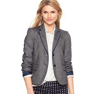 Gap • Grey Tweed Elbow Patch Academy Blazer